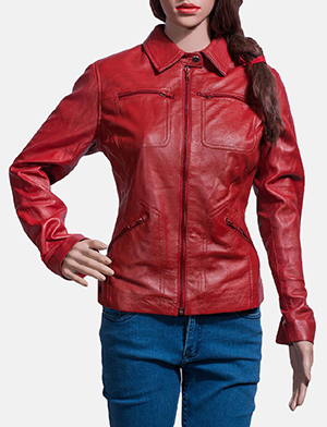 Womens Tomachi Red Leather Jacket