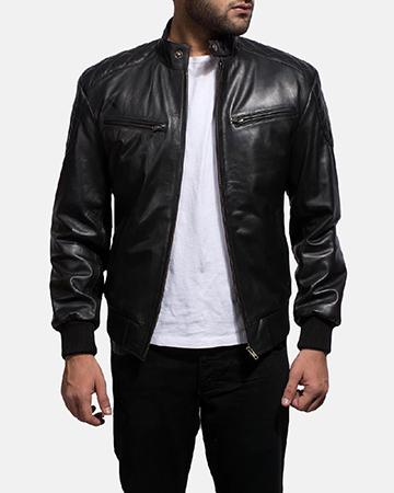 Mens Sven Black Leather Bomber Jacket 1