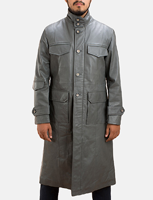Mens Steel Silver Leather Long Coat