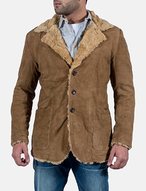 Mens Furlong Beige Leather Coat