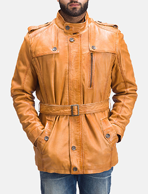 Mens Hunter Tan Brown Fur Leather Jacket
