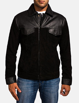 Mens Fusion Black Suede Leather Jacket