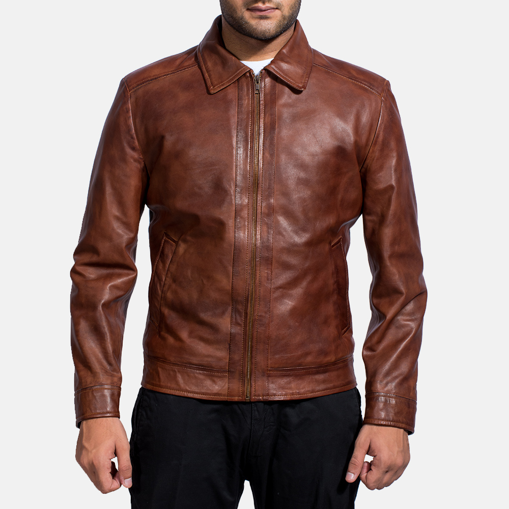 Mens Inferno Brown Leather Jacket 1
