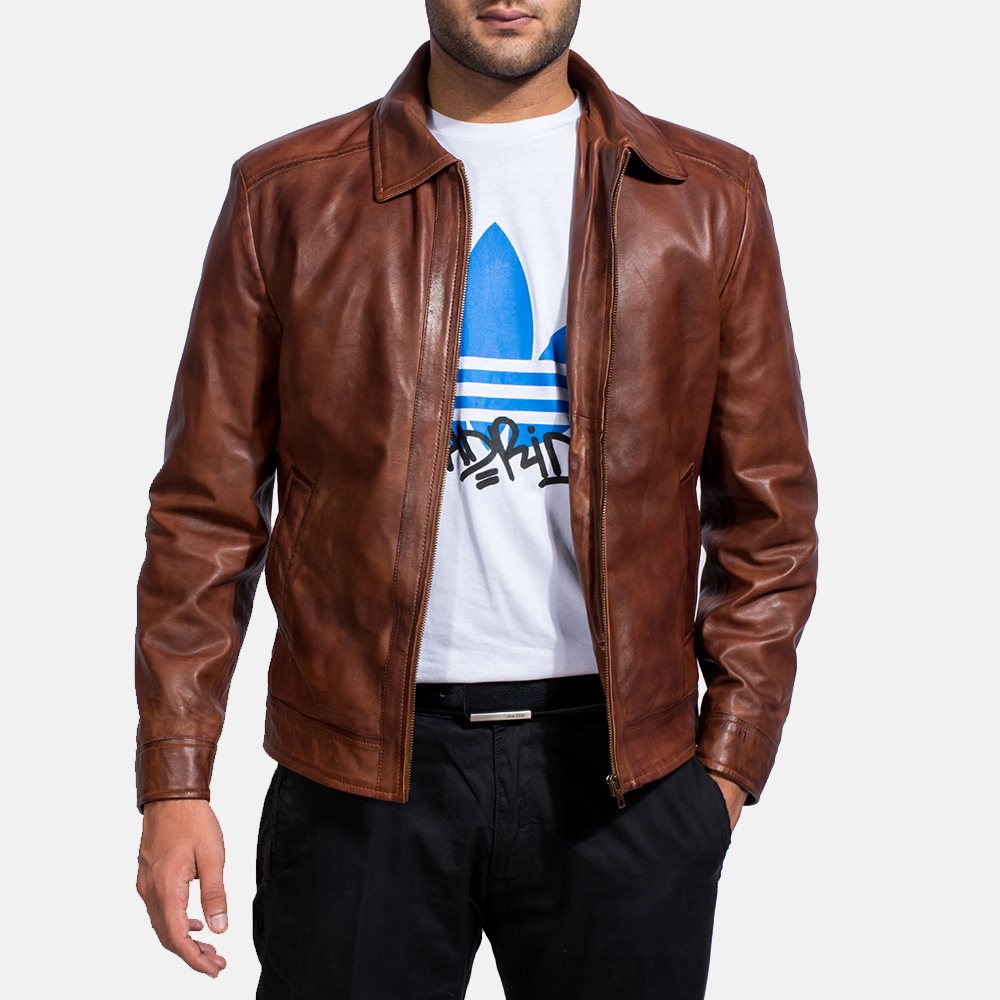 Mens Inferno Brown Leather Jacket 4