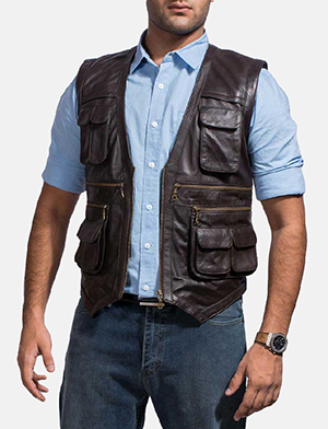 Mens Safari Brown Leather Vest