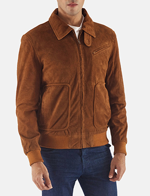 Tan brown suede bomber jacket for men 1491402675897