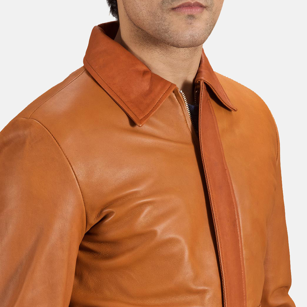 Mens Hubert Tan Brown Leather Jacket 6