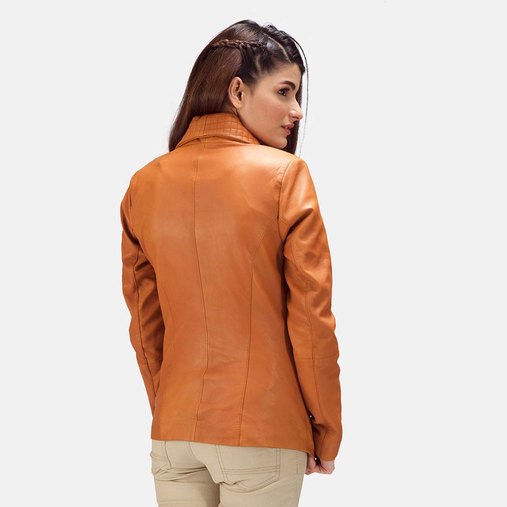 Womens Lee Tan Brown Leather Blazer 4