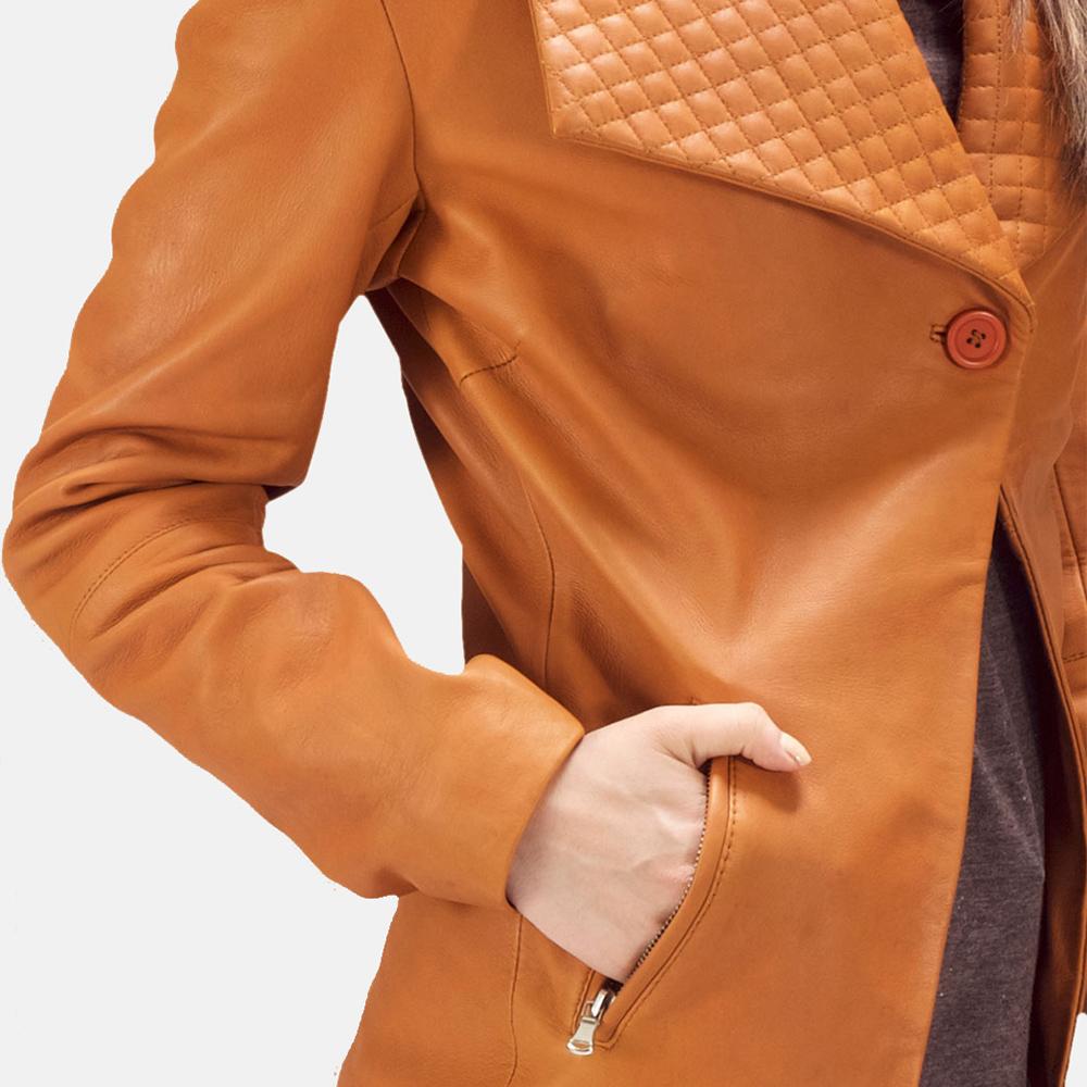 Womens Lee Tan Brown Leather Blazer 3