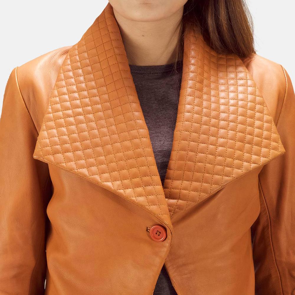 Womens Lee Tan Brown Leather Blazer 5