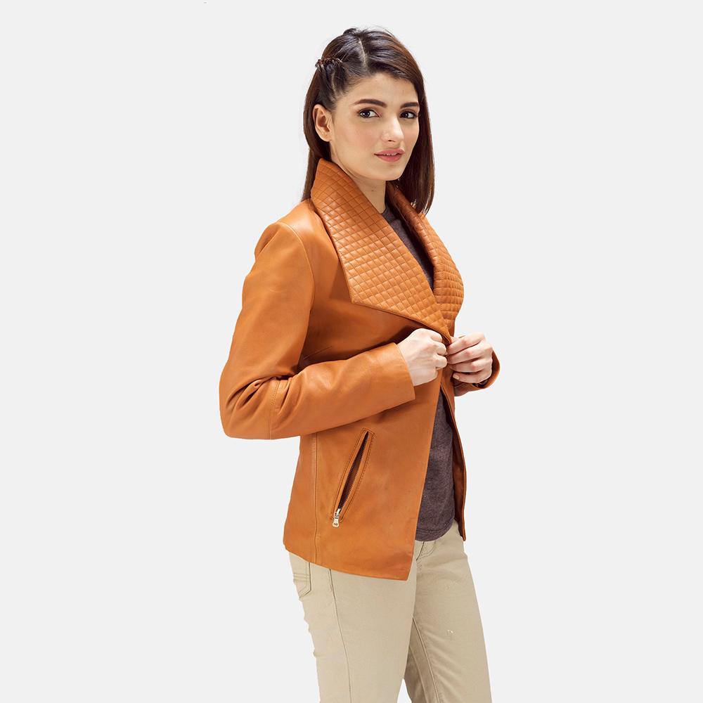 Womens Lee Tan Brown Leather Blazer 6