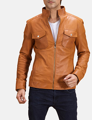 Mens Voltex Tan Leather Biker Jacket