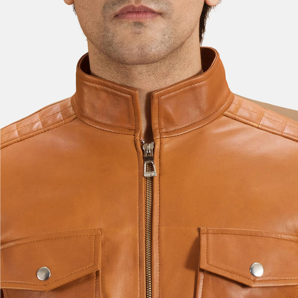 Mens Voltex Tan Leather Biker Jacket 5