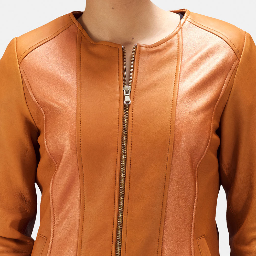 Womens Sleeky Clean Tan Leather Biker Jacket 3