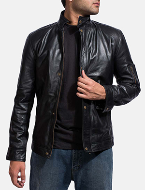 Mens Tea House Black Leather Jacket