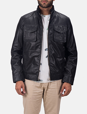 Mens Maurice Black Leather Jacket