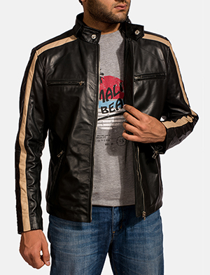 Mens Jack Black Leather Biker Jacket