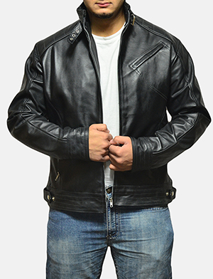 Mens Legacy Black Leather Biker Jacket