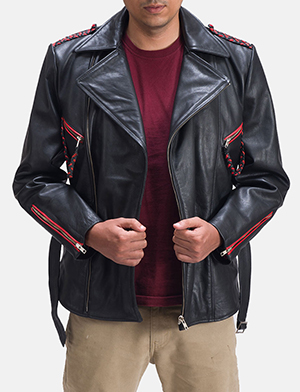 Mens Moda Black Leather Biker Jacket