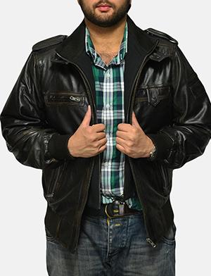 Mens Glen Street Black Leather Bomber Jacket