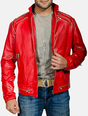 Mens Jagger Red Leather Jacket
