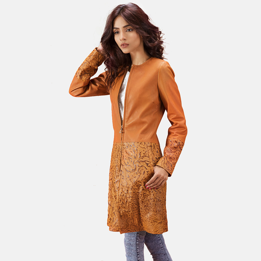 Womens Sandy Tan Dye Leather Coat 3