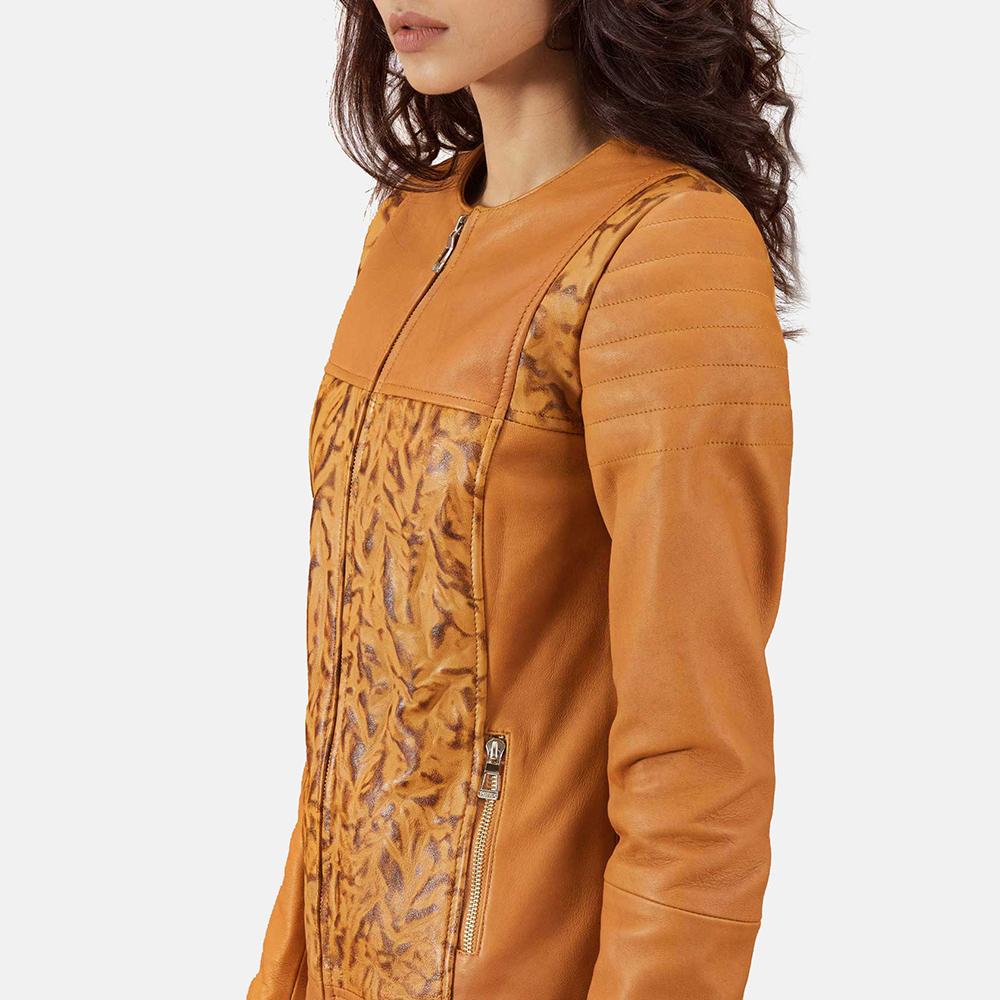 Womens Sandy Tan Dye Leather Biker Jacket 6