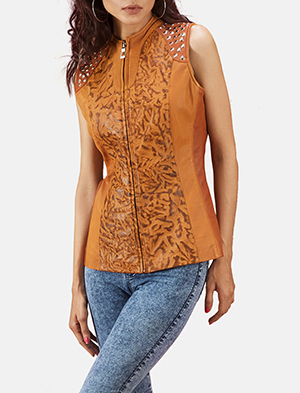 Womens Westina Tan Dye Leather Vest