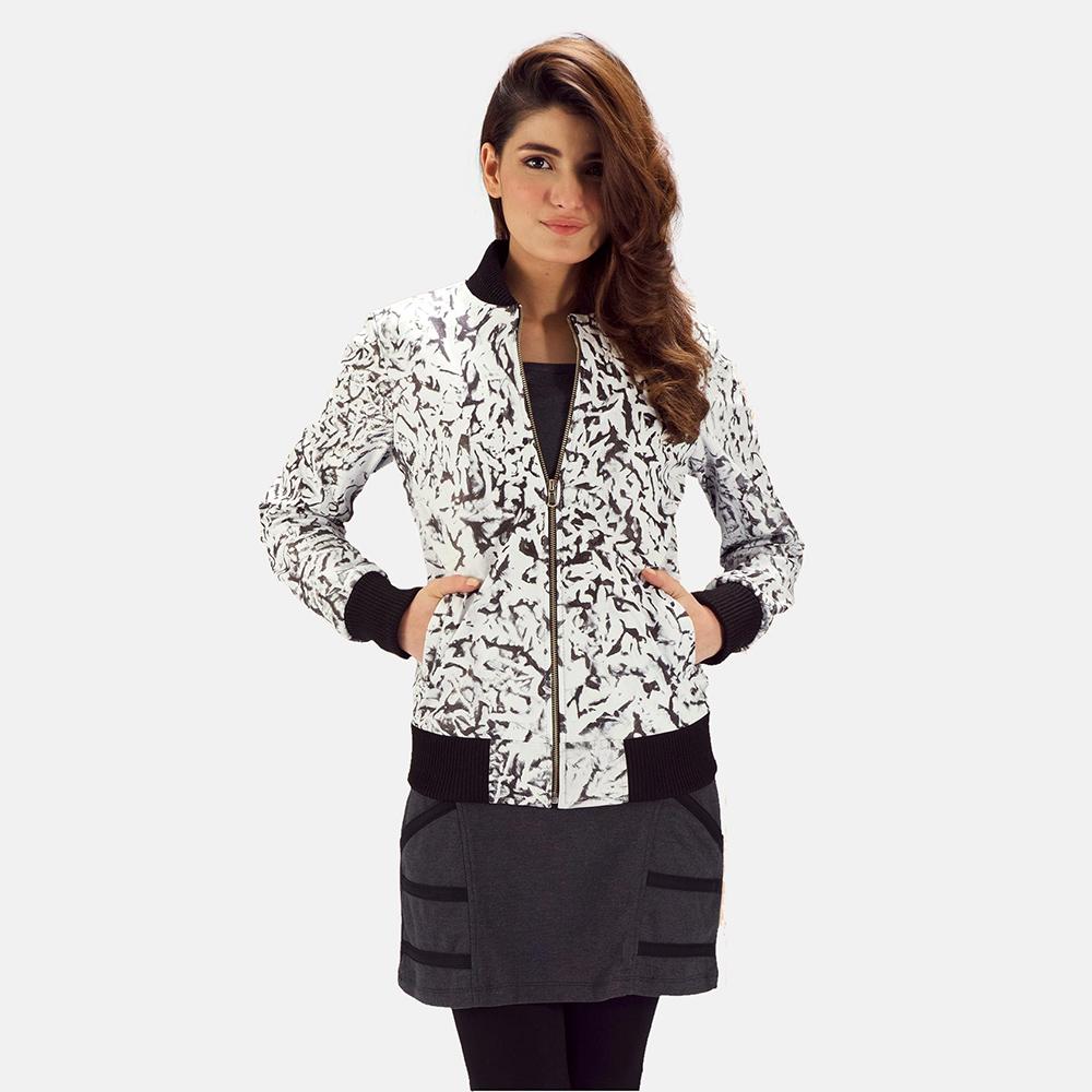 Womens Donna Blake White Leather Bomber Jacket 4