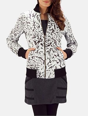 Womens Donna Blake White Leather Bomber Jacket