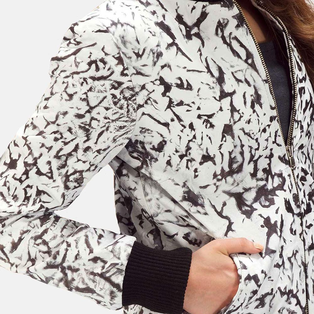 Womens Donna Blake White Leather Bomber Jacket 3