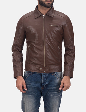 Men's Tim Brown Leather Biker Jacket