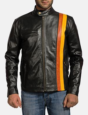 Mens Titan Black Leather Biker Jacket