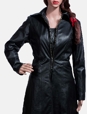 Womens Tribal Black Leather Long Coat & Vest