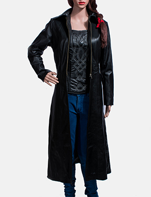 Womens Tribal Black Leather Long Coat