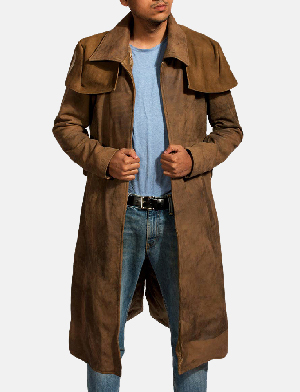 Mens Army Brown Leather Duster