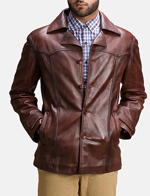 Mens Vincent Alley Brown Leather Jacket