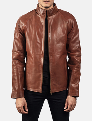 Mens Wilding Brown Leather Jacket