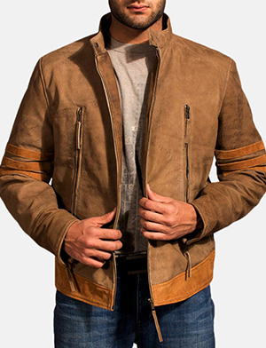 Mens Wolf Brown Leather Jacket
