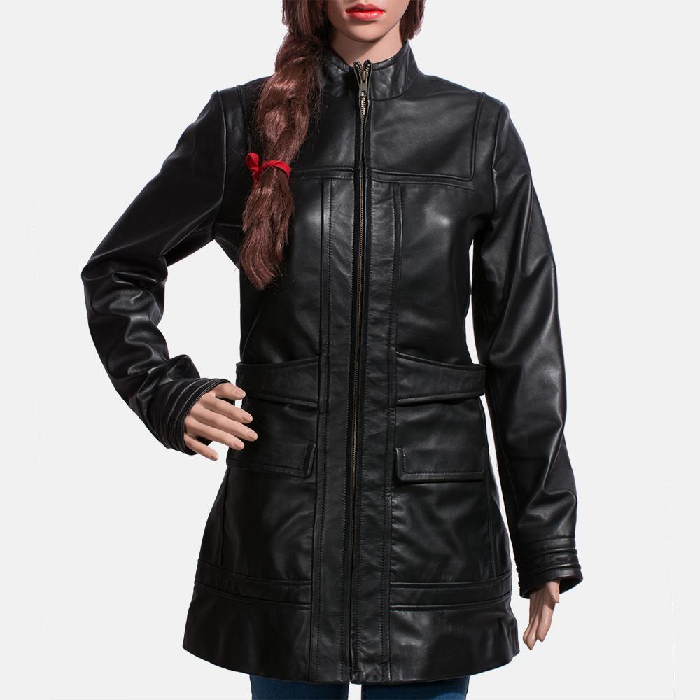 Womens Serene Black Leather Coat 3