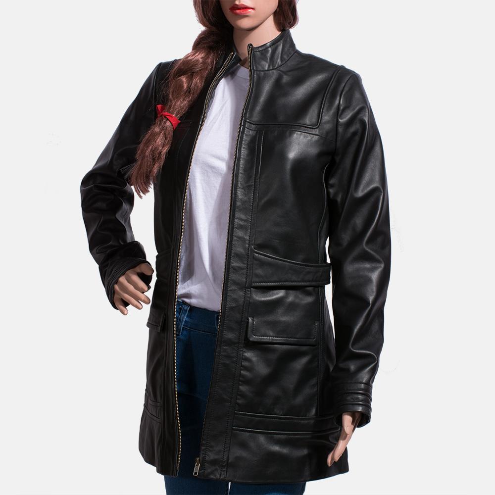 Womens Serene Black Leather Coat 6