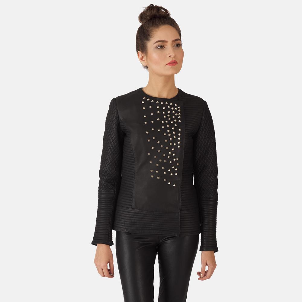 Womens Celeste Studded Black Leather Jacket 1