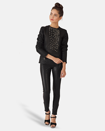 Womens Celeste Studded Black Leather Jacket 1