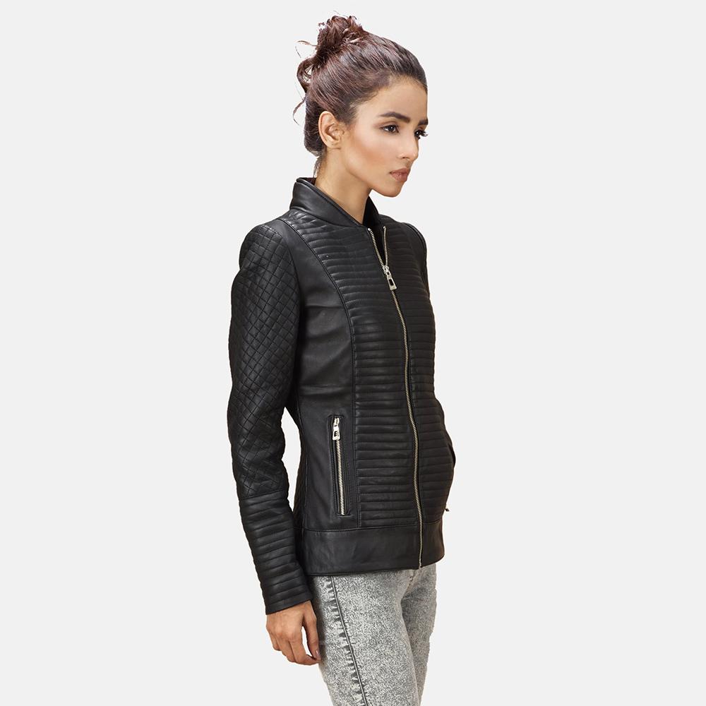 Womens Cityscape Black Leather Biker Jacket 1