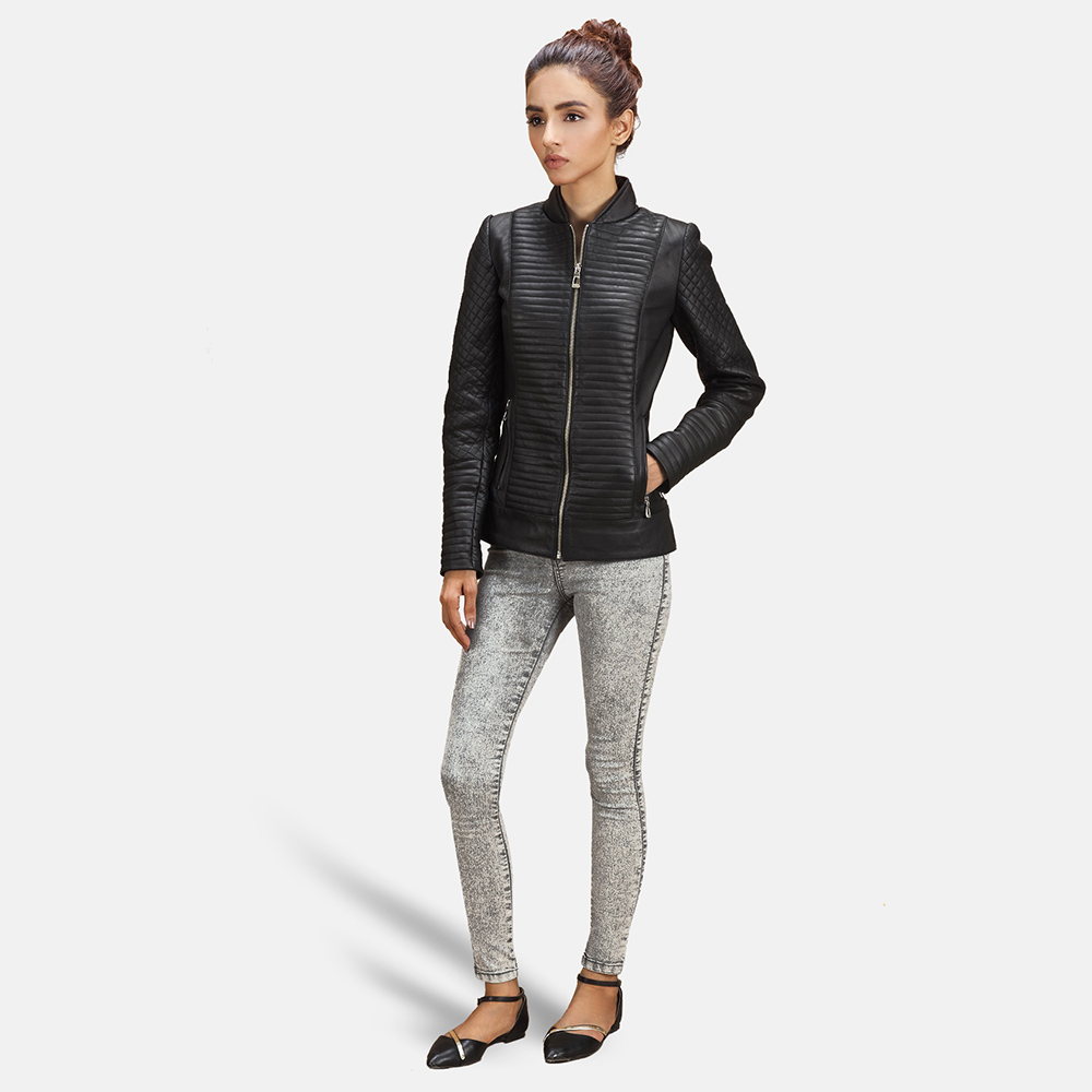 Womens Cityscape Black Leather Biker Jacket 2