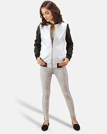 Womens Cole  Silver Leather Bomber Jacket 1