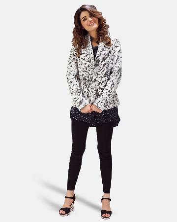 Womens Donna Blake White Leather Blazer 1