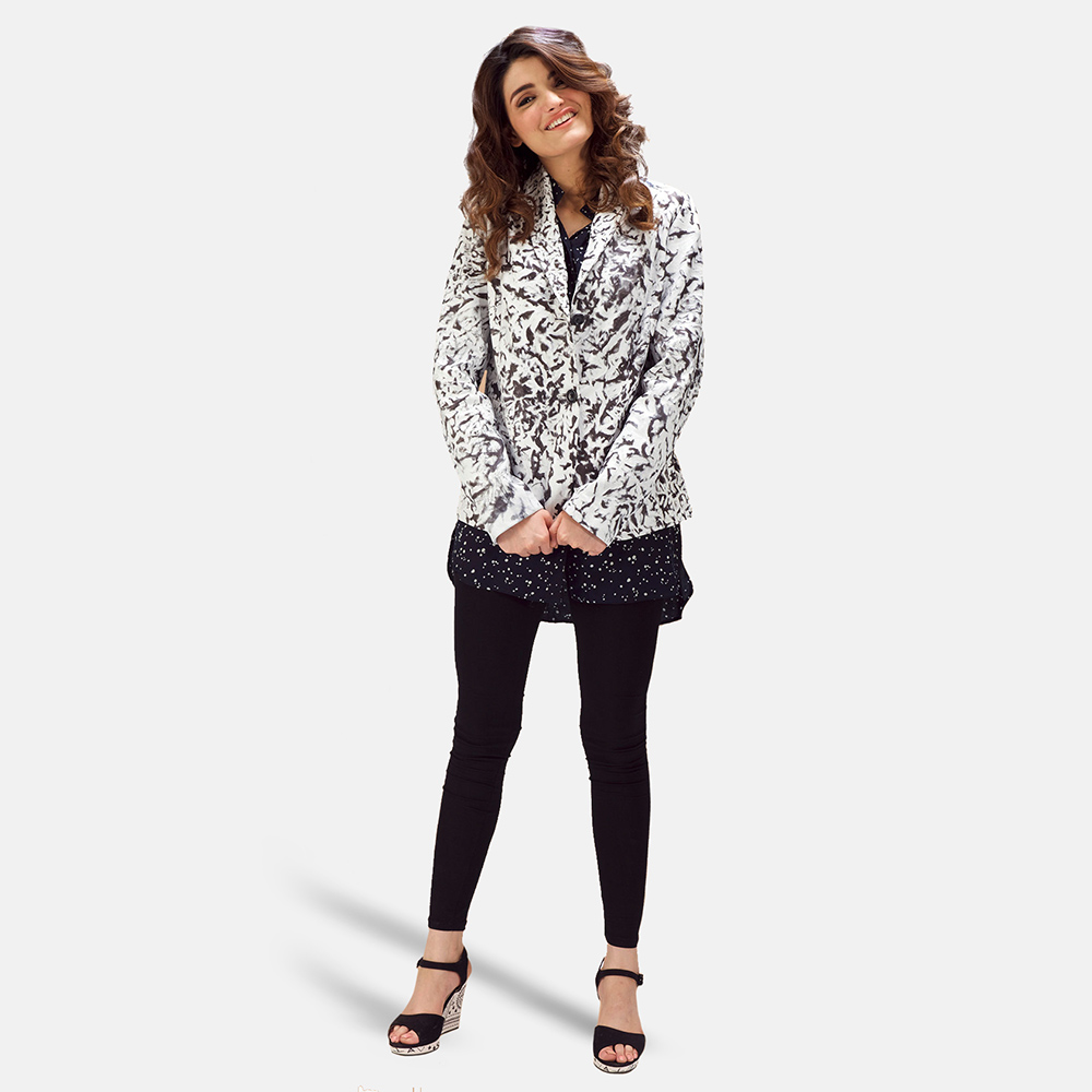 Womens Donna Blake White Leather Blazer 2