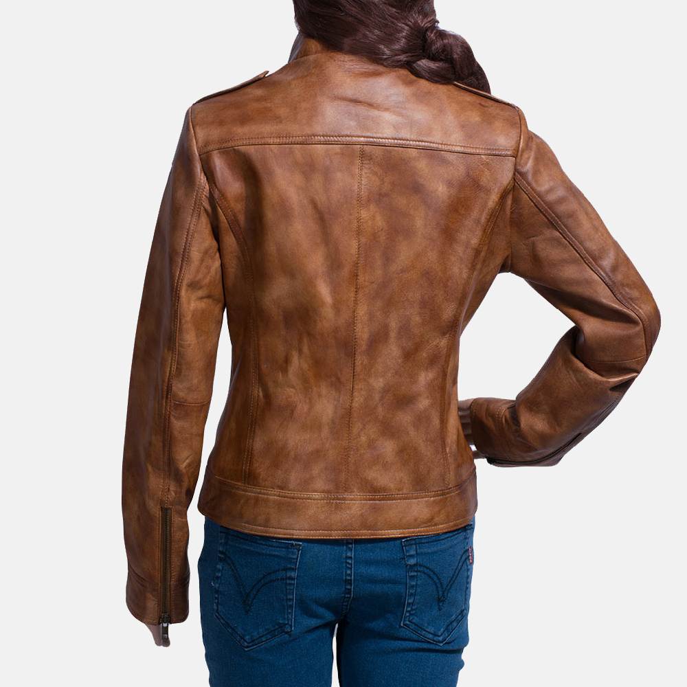 Womens Ethereal Brown Leather Biker Jacket 4