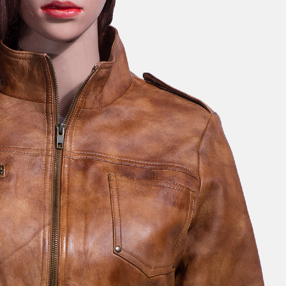 Womens Ethereal Brown Leather Biker Jacket 2